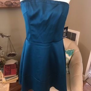 Gorgeous strapless cocktail dress in rich teal